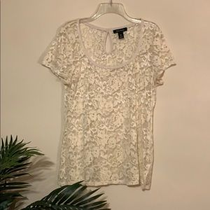 WHBM Ivory Lace Short Sleeved Top sz XL Sheer